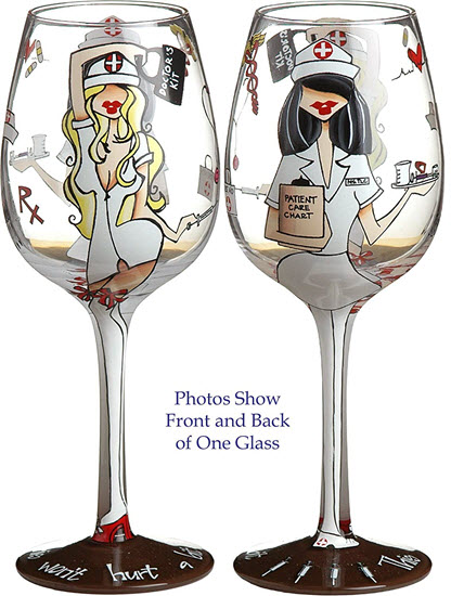 nurse wine glass graduation gift