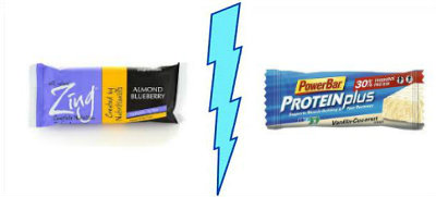 Zing Almond Blueberry vs. PowerBar ProteinPlus