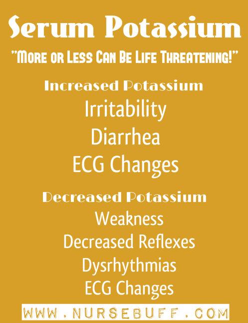 serum potassium nursing mnemonics