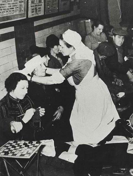 Nurse inside a WWII bomb shelter