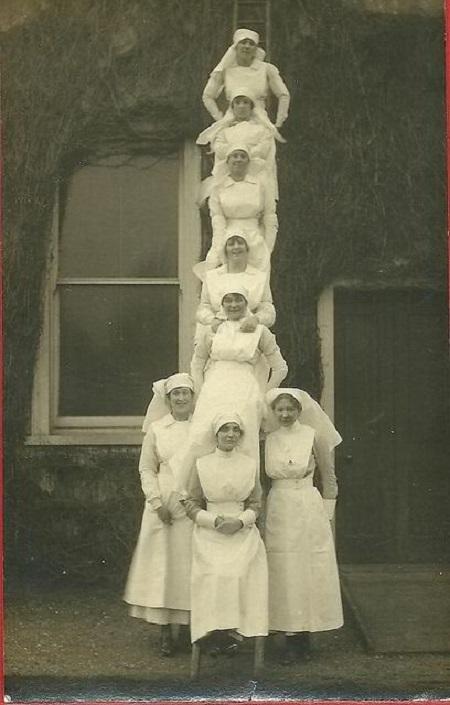 Nurses up a ladder!
