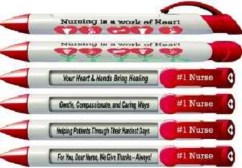 Nursing Greeting Pens with Rotating Messages, 6 Pen Set (36541)