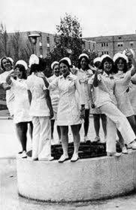 Vintage nurses, circa 60's to 70's.