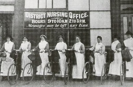 Vintage nurses in bicycles, 1914.