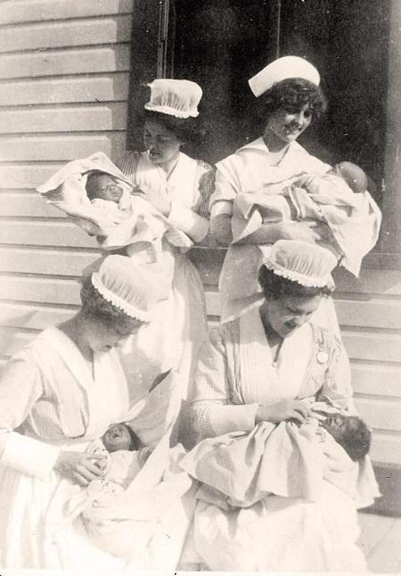 Vintage nurses with babies