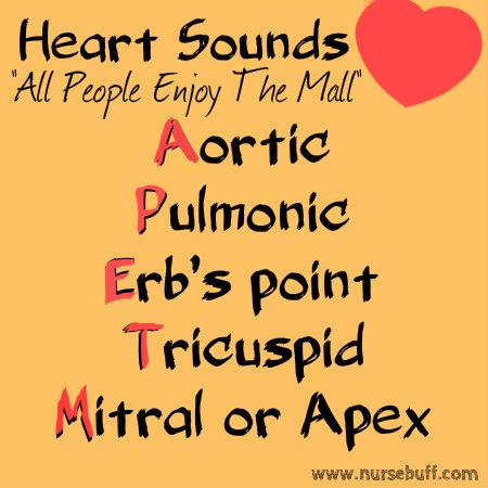 heart sounds nursing mnemonic