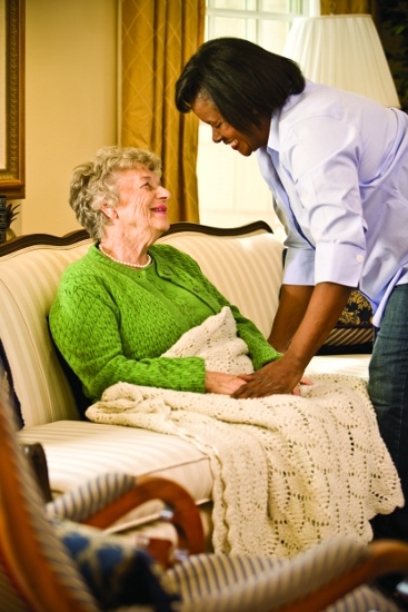elderly in a blanket