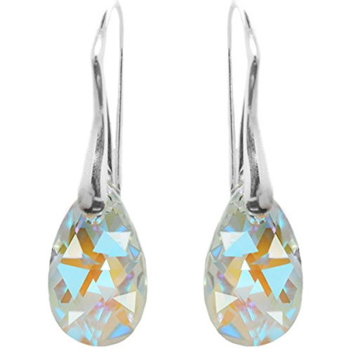 Sterling Silver Made with Swarovski Crystals Blue Aurora Borealis Teardrop Pierced Earrings for Women