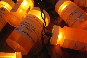 christmas light prescription bottles