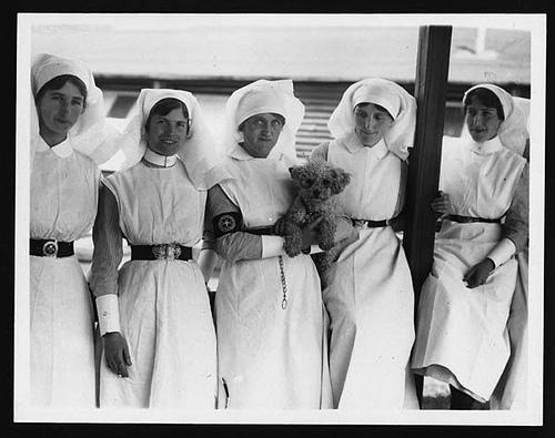 vintage nurses with dog
