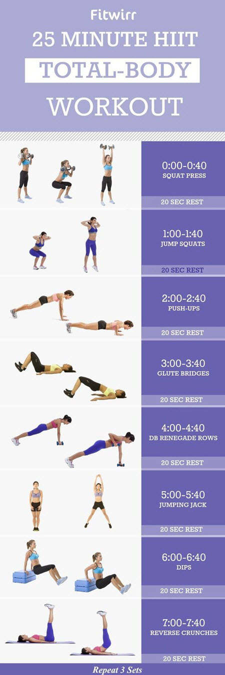 Buzzfeed Released This Total Body Hiit Workout You Will Need Dumbbells Yoga Mats And A Small Chair To Complete The Routine