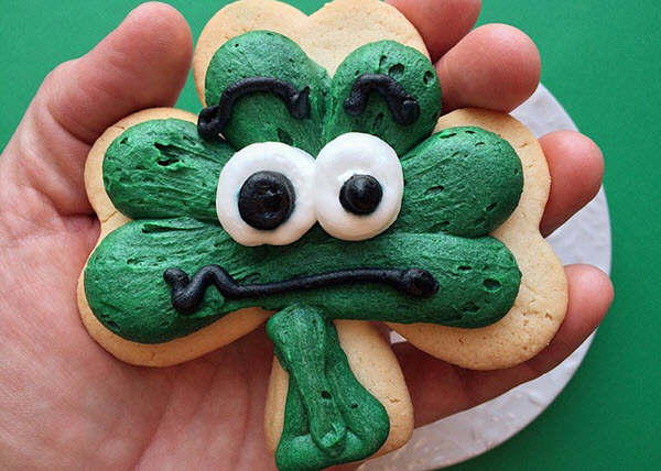 st patricks day clover cookies