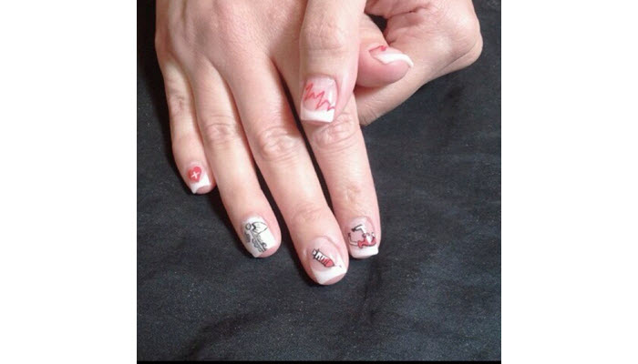 Nurse-Design-On-Short-French-Tip-Nails