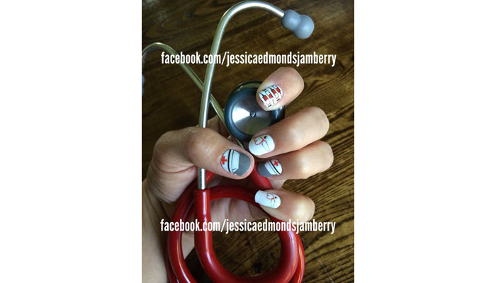 Nurse-Hat-Syringe-And-Stethoscope-Nail-Design