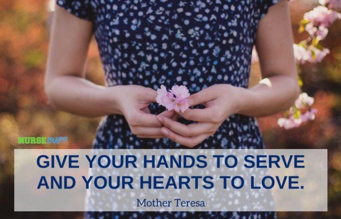 nursing quote hands to serve