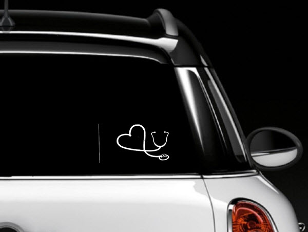 white heart stethoscope car window decal