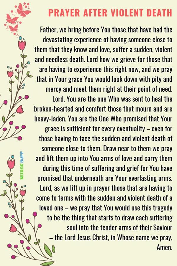 prayer after violent death