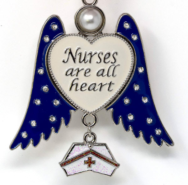 nurses are all heart angel ornament