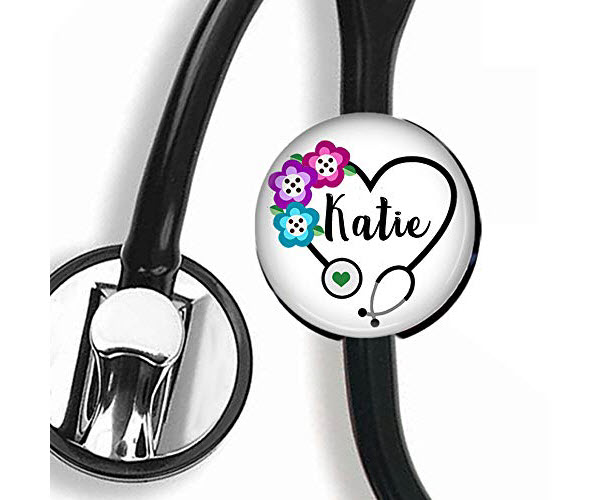 personalized name steth nurse badge