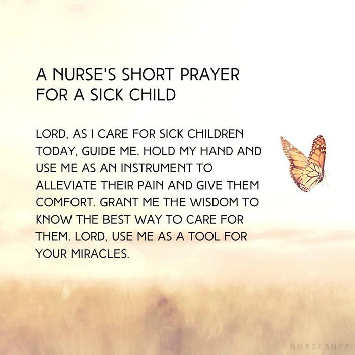 a nurses short prayer for a sick child