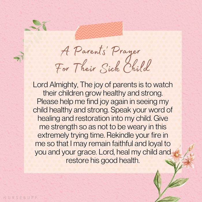 a parents prayer for their sick child
