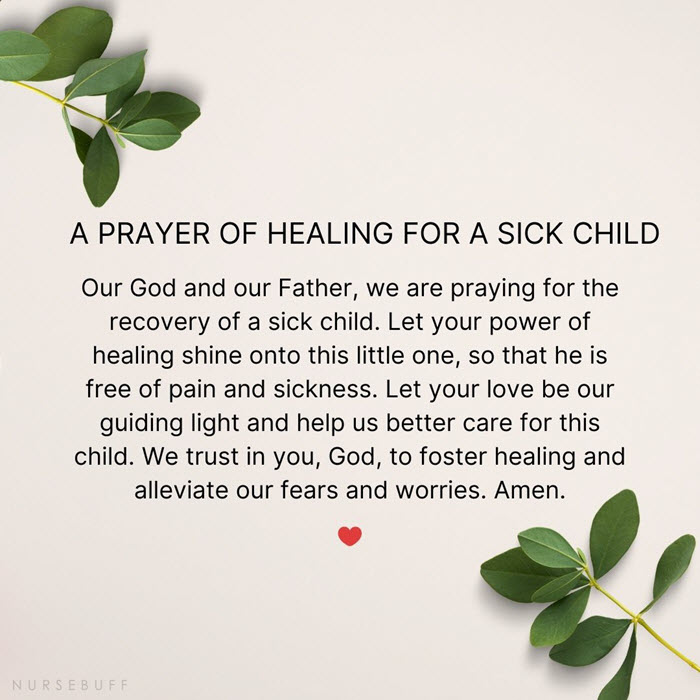 a prayer for healing for a sick child