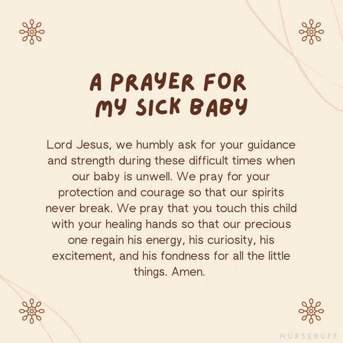 a prayer for my sick baby