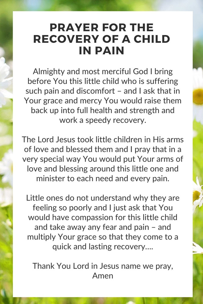 a prayer for the recovery of a child in pain