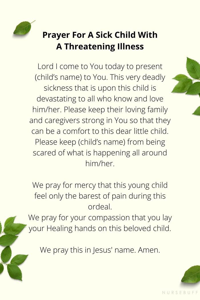 prayer for a sick child with threatening illness