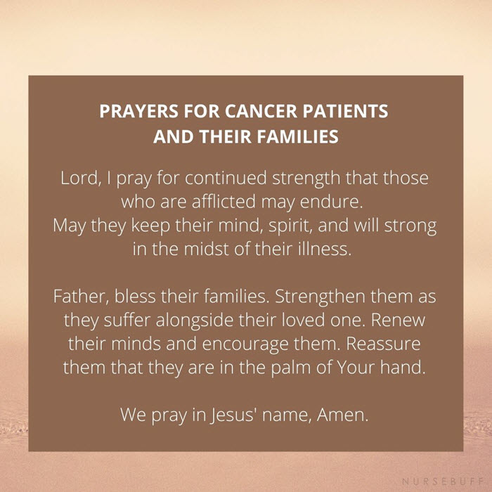 prayer for cancer patients and their families