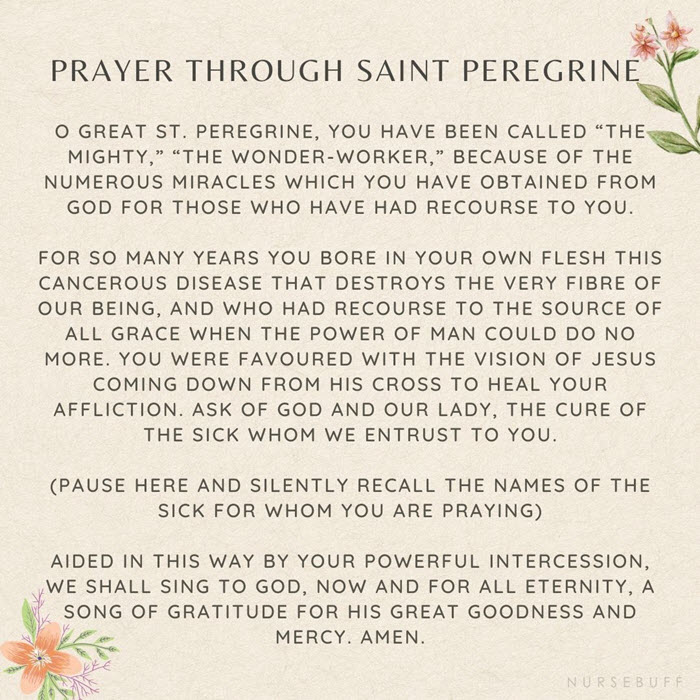 prayer for cancer patients through saint peregrine