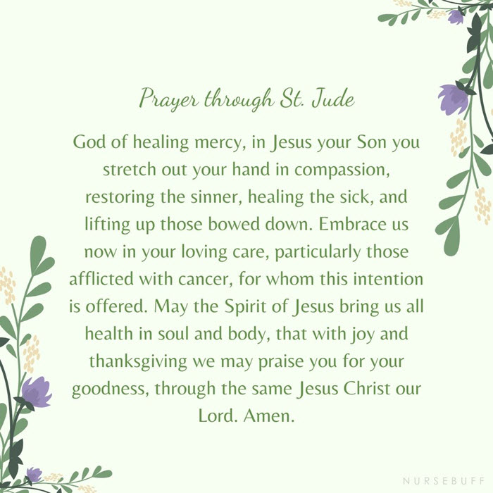 prayer for cancer patients through st jude