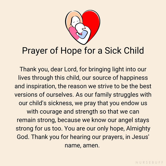 prayer of hope for a sick child