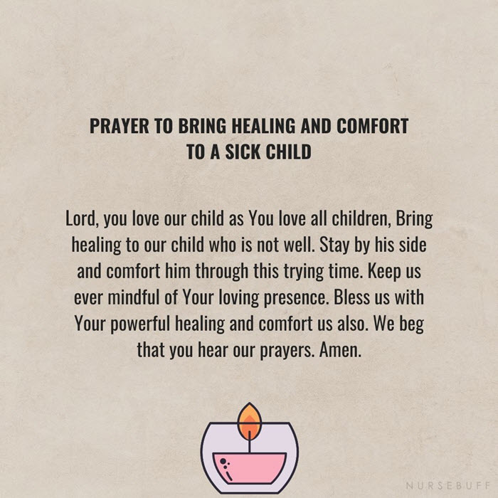 prayer to bring healing and comfort to a sick child