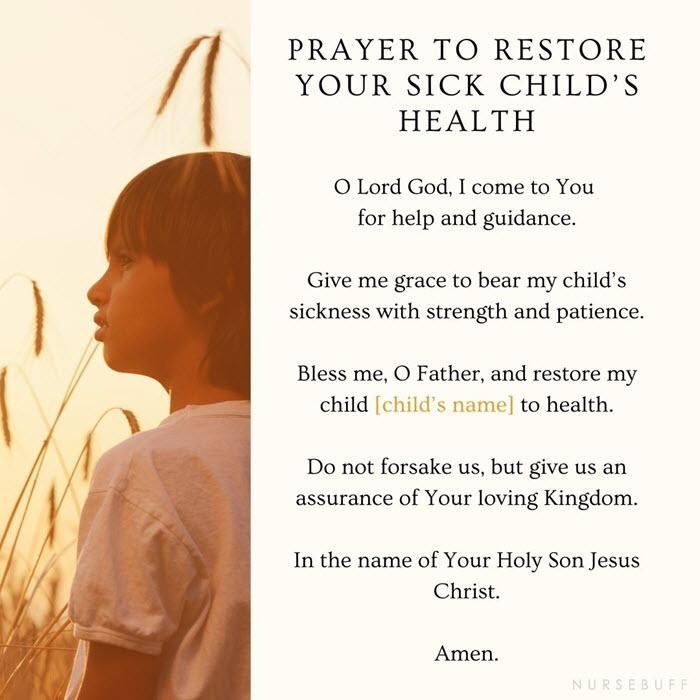 prayer to restore your sick childs health