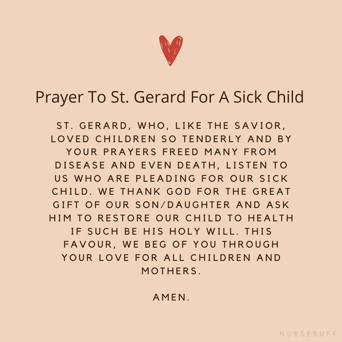 prayer to st gerard for a sick child