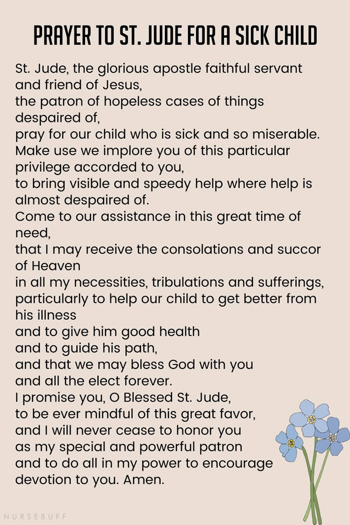 prayer to st jude for a sick child