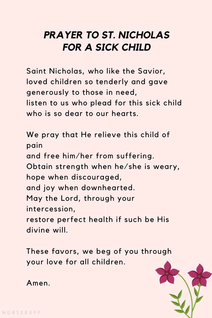 prayer to st nicholas for a sick child