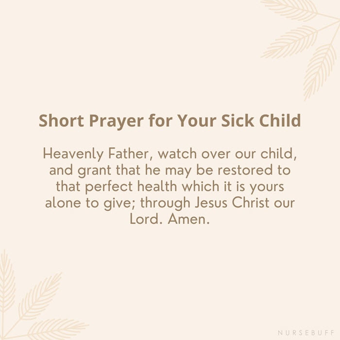 short prayer for your sick child