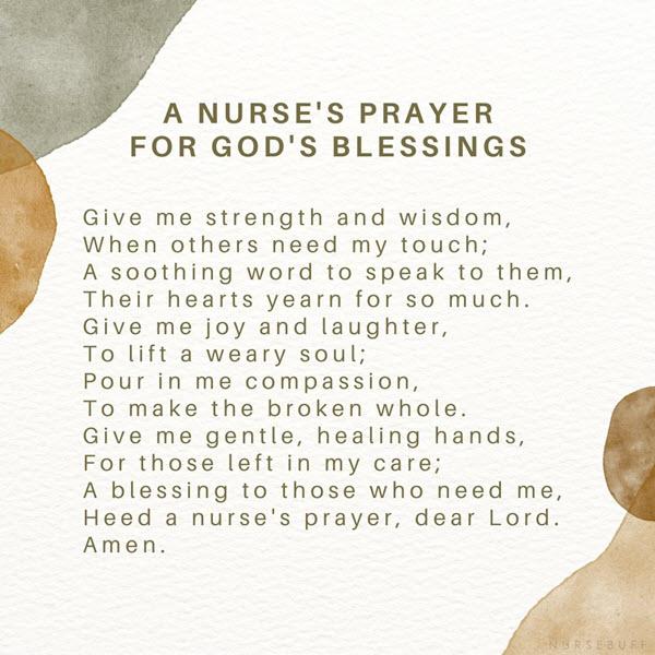 a nurses prayer for gods blessings