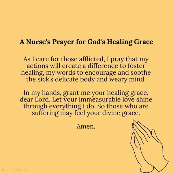 a nurses prayer for gods healing grace