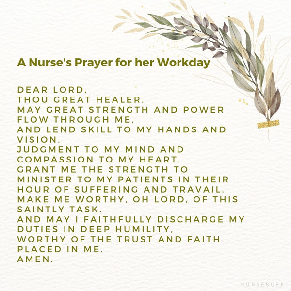 a nurses prayer for her workday