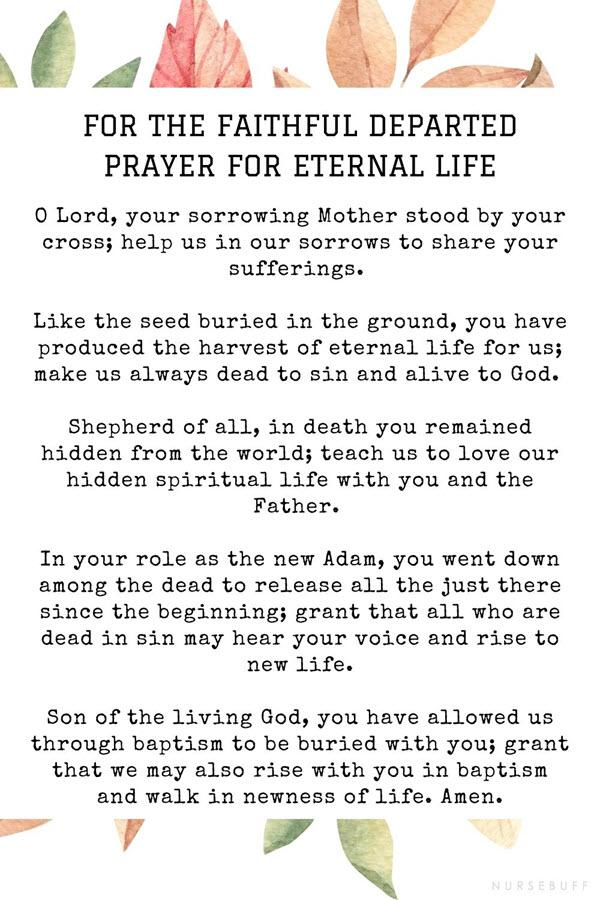 for the faithful departed prayer for eternal life
