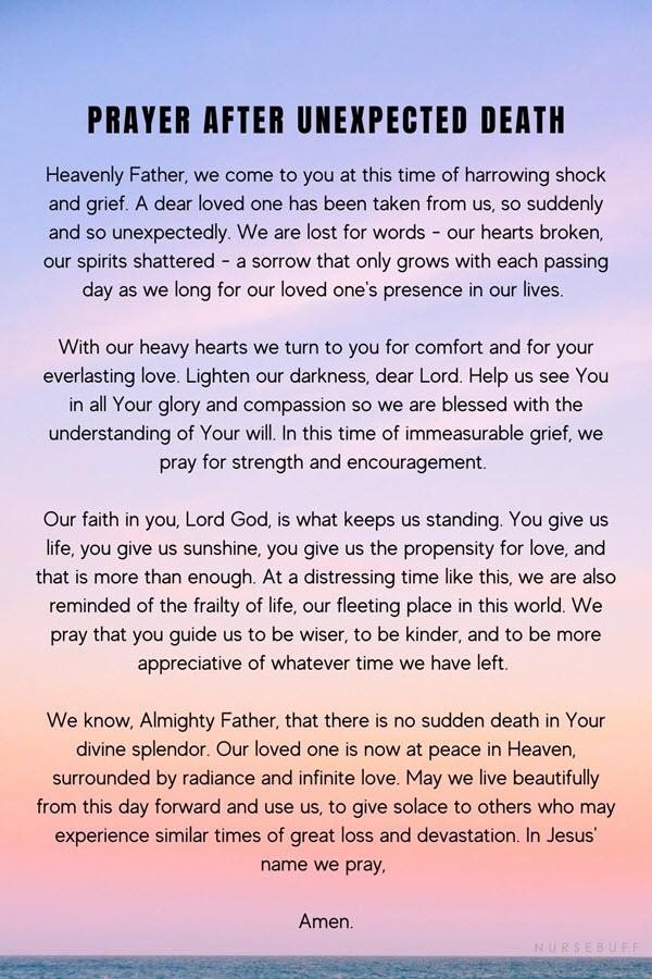 prayer after unexpected death
