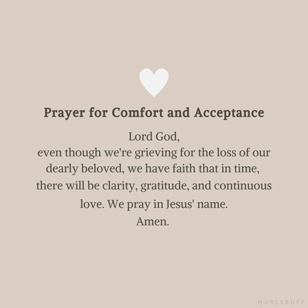 prayer for comfort and acceptance