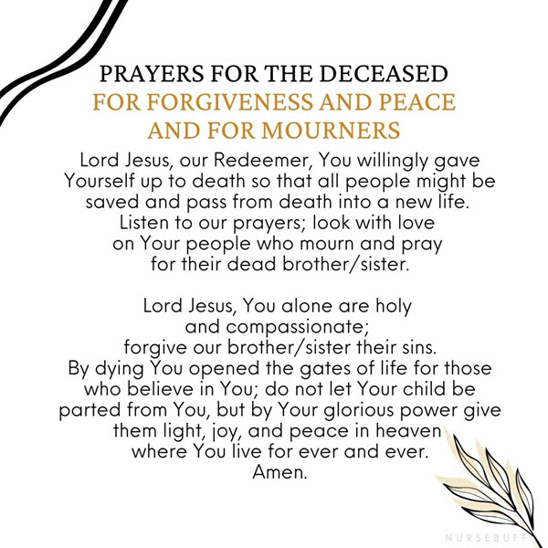 prayers for the deceased for forgiveness and peace and for mourners