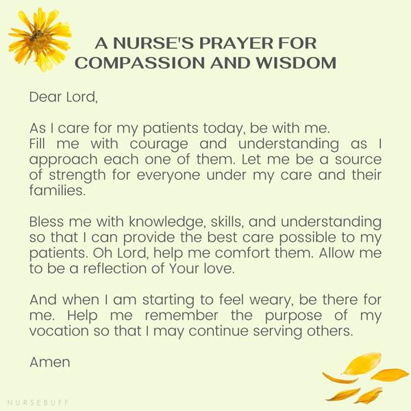 a nurses prayer for compassion and wisdom