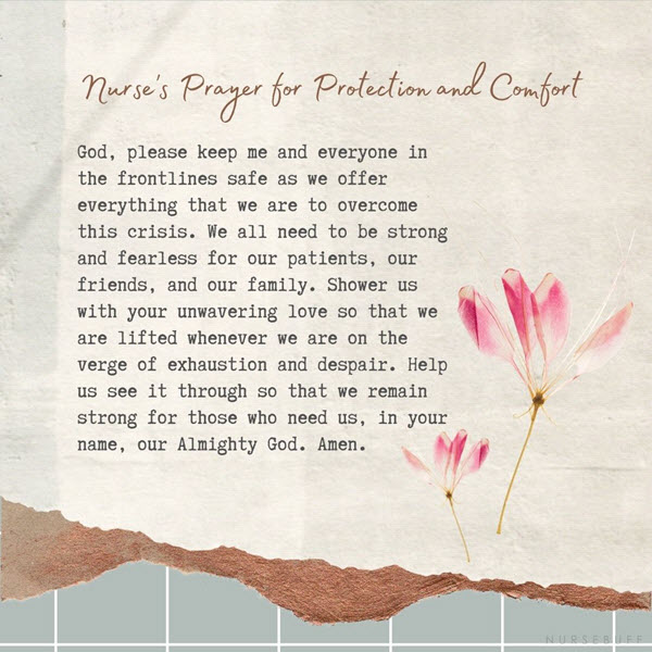 nurses prayer for protection and comfort