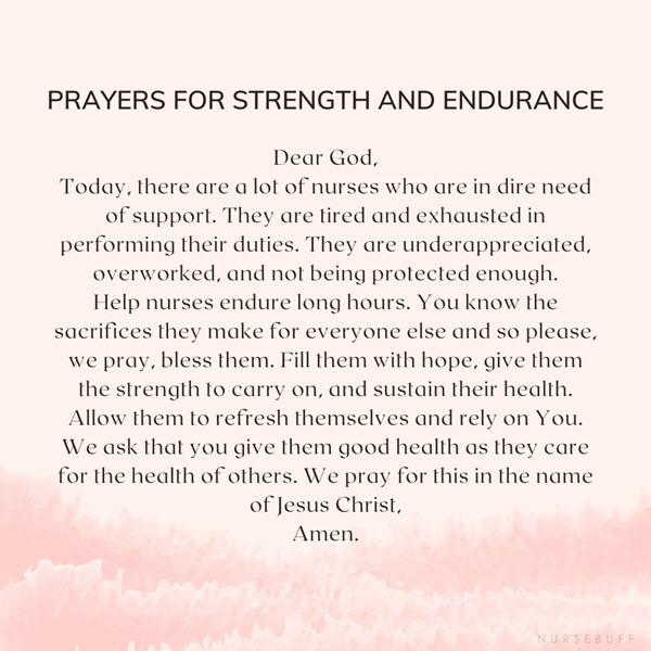 prayers for strength and endurance